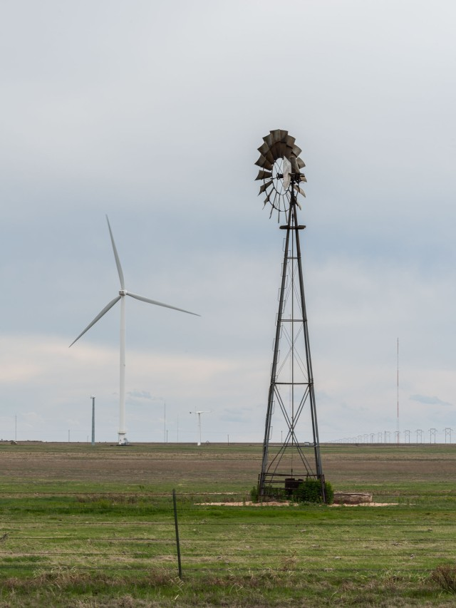 Wind Turbine and classic windmill on a ranch in the Texas Panhandle